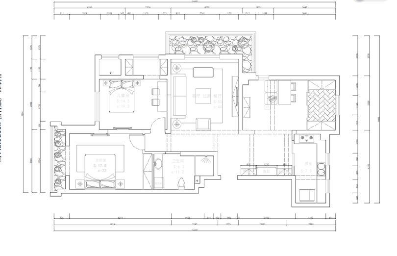 盤錦北軒裝飾激情網公司藍色康橋B區130平設計師都永濤簡歐風格激情網設計效果圖
