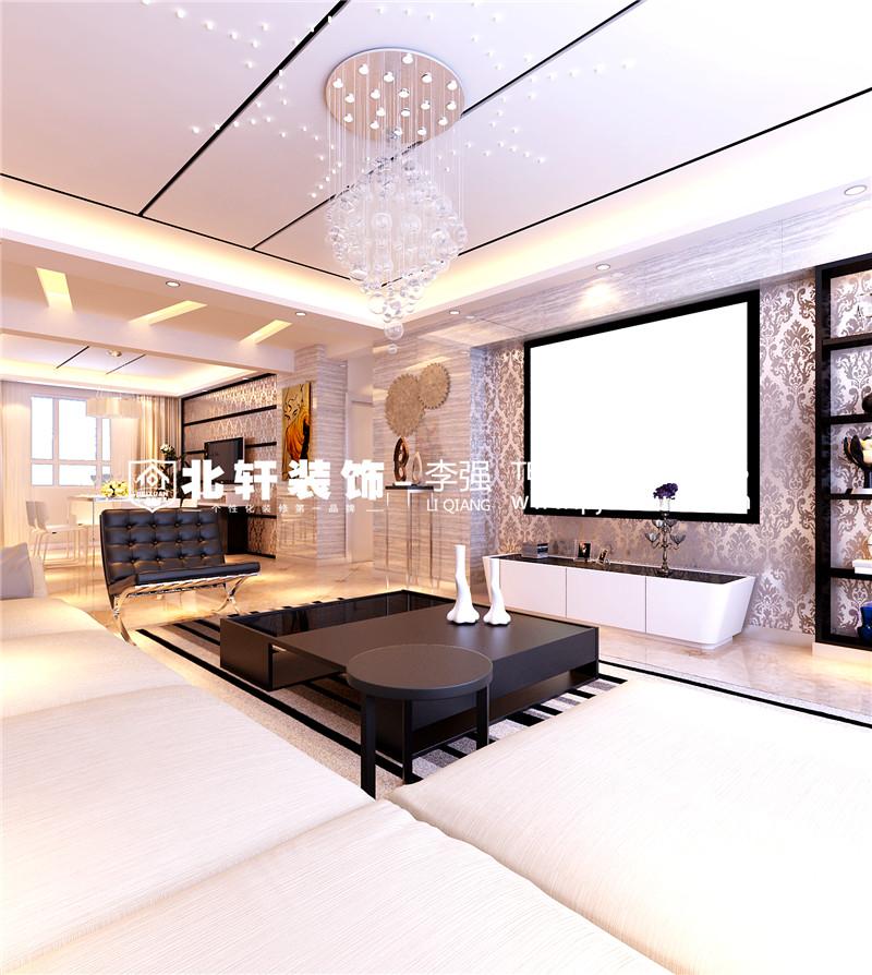 盘锦总部生态城112平现代简约风格装修效果图