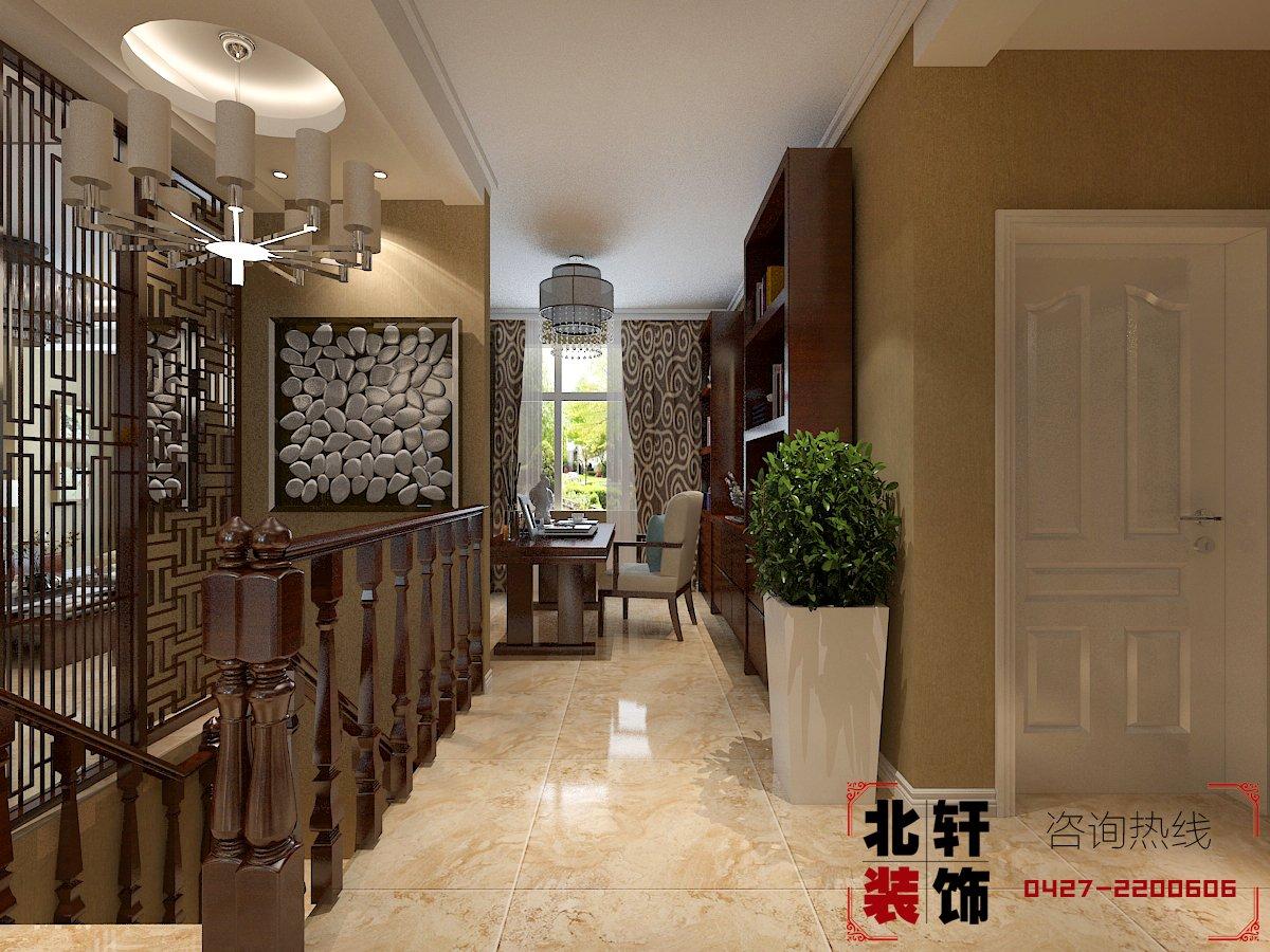 平跃层新中式装修效果图     【设计理念】:本案典型的新中式风格客厅